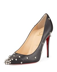 Christian Louboutin Degraspike Studded Leather Red Sole Pump Black Silver Women's Size 5.5B 35.5Eu