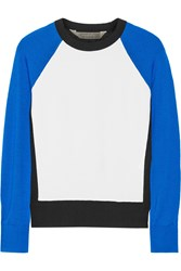 Reed Krakoff Paneled Crepe And Cashmere Wool And Silk Blend Sweater Blue