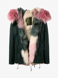 Mr And Mrs Italy Fox Fur Lined Short Cotton Parka Dark Green Pink Cream Multi Coloured