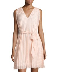 Max Studio Pleated Gingham Sleeveless Dress Coral Off White