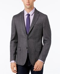 Dkny Men's Slim Fit Herringbone Sport Coat Black