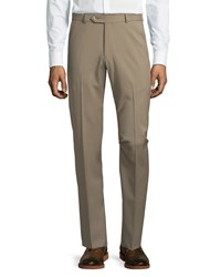 Neiman Marcus 18 Doors Wool Straight Leg Trousers Tan