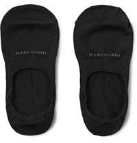 Marcoliani Invisible Touch Pima Cotton Blend No Show Socks Black