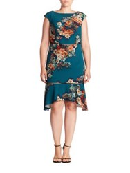 Abs Plus Size Cutout Floral Print Dress Teal