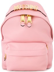 Moschino Logo Plaque Backpack Pink And Purple
