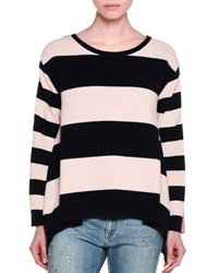 Stella Mccartney Long Sleeve Wide Striped Combo Sweater Ink Powder Blue Pink
