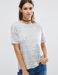 Asos Top With Unicorn Badges In Stripe Multi