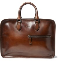 Berluti Deux Jours Burnished Leather Briefcase Brown