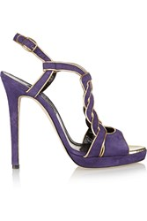 Oscar De La Renta Petra Leather Trimmed Suede Sandals Purple