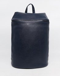 Asos Smart Backpack In Navy Faux Leather With Zip Top Blue