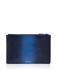 Whistles Graduated Embossed Lizard Small Clutch Blue