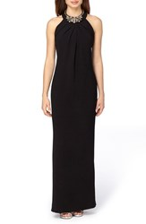 Tahari Women's Embellished Stretch Crepe Column Gown
