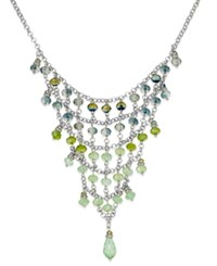 C.A.K.E. By Ali Khan Silver Tone Green Bead And Chain Bib Necklace