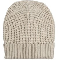 Barneys New York Women's Waffle Stitched Wool Cashmere Beanie Tan