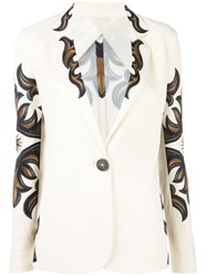 Fausto Puglisi Printed Single Button Blazer Nude Neutrals