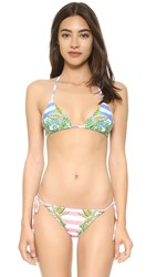 Mara Hoffman Wheatfield Blue Triangle Bikini Top White Blue