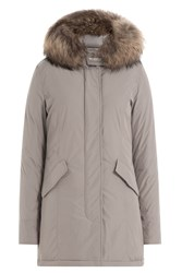 Woolrich Luxury Arctic Down Parka With Fur Trimmed Hood Grey