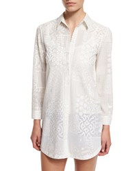 Alice Olivia Tanisha Embroidered Button Front Tunic White Women's