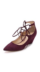 Belle By Sigerson Morrison Willy Lace Up Suede Wedges Burgundy