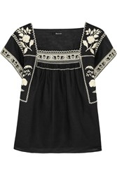 Madewell Wildfield Embroidered Linen And Cotton Blend Top Black Cream