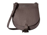 Just Cavalli Solid Pebbled Calf Skin Saddle Bag Litium Cross Body Handbags Pewter