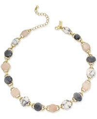 Kate Spade New York Gold Tone Multi Stone Link Collar Necklace