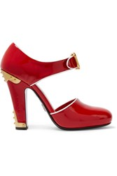 Prada Embellished Patent Leather Pumps Red