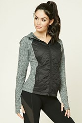 Forever 21 Active Quilted Hooded Jacket Black Charcoal