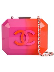 Chanel Vintage Plastic Logo Clutch Yellow And Orange