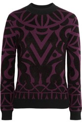 Temperley London Jani Jacquard Knit Sweater Plum