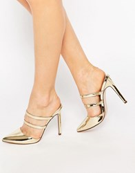 Asos Platoon Pointed Mules Gold Metallic