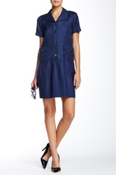 Orla Kiely Basket Weave Drop Waist Dress Blue
