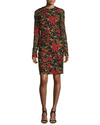 Naeem Khan Floral Embroidered Long Sleeve Dress Black Red