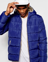 United Colors Of Benetton Padded Jacket With Hood Blue0d2