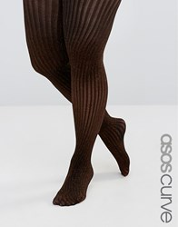 Asos Curve Bronze Rib Lurex Tights Bronze Brown