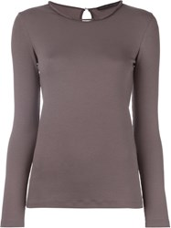 Fabiana Filippi Round Neck Longsleeved T Shirt Grey