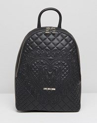 Love Moschino Quilted And Embossed Backpack Black