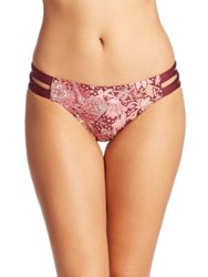Carmen Marc Valvo Ornamental Floral Strappy Bikini Bottom Plum