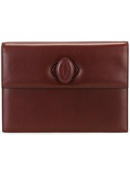 Cartier Vintage Embossed Logo Clutch Pink And Purple