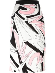 Marco Bologna Graphic Print Midi Skirt White