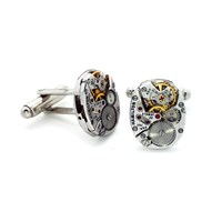 Lc Collection Silver Vintage Hamilton Watch Movements Cufflinks Decorated