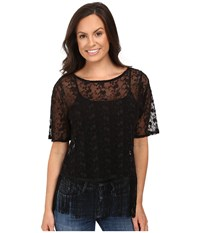 Roper 0504 Embroidered Knit Top Black Women's Clothing