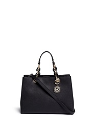 Michael Kors 'Cynthia' Medium Saffiano Leather Satchel Black