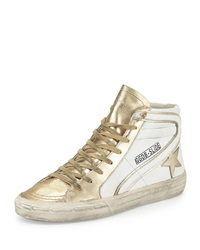 Golden Goose Star Embellished Leather High Top Sneaker White Gold