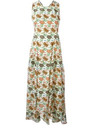 Tory Burch Floral Print Open Back Dress Nude And Neutrals
