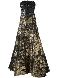 Oscar De La Renta Strapless Flared Gown Black