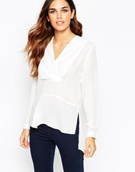 Asos Deep V Wrap With Open Back Detail Ivory