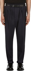Balmain Navy Pleated Harem Trousers