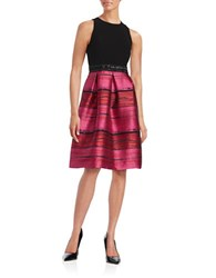Carmen Marc Valvo Pleated Fit And Flare Dress Fuschia