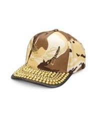 Robin's Jeans Studded Brim Camouflage Cap Khaki